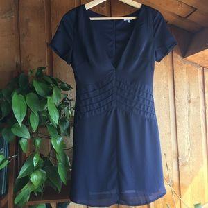 Tobi Navy Blue Short Sleeve Pleated Dress Small